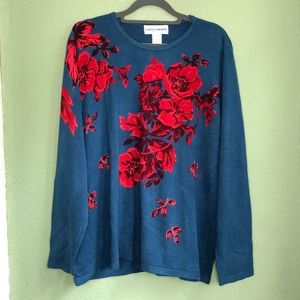 Beautiful Blue sweater with Red Floral Accents 2X